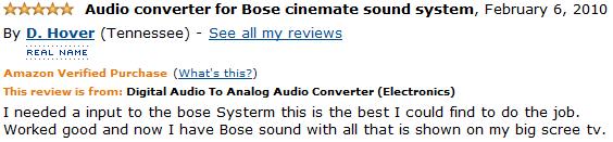 digital audio to analog audio converter customer review 4